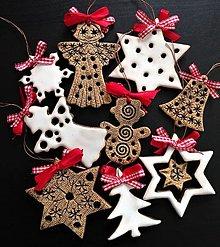 Dekorácie - Vianočné ozdoby sada -keramické-oboustranné - 11303765_