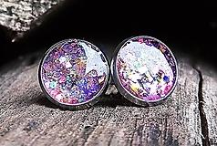 Náušnice - Napichovacie náušnice (CHO) fialové trblietky - 11303006_