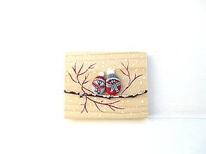 Tabuľky - Uzimené štebotavé vtačúrence - menšie, červená - 11304151_