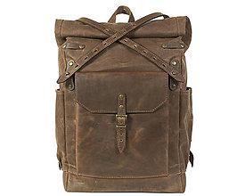 Batohy - Hnedý mestský batoh z kože a voskovaného plátna. - 11303598_