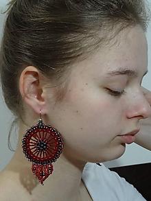Náušnice - Bordovo- červené - 11303659_