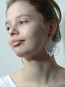 Náušnice - Biele srdiečka - 11303664_
