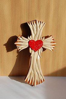 Dekorácie - Drevený kríž - Plamene Božej Lásky - 11303844_