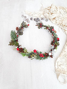 Ozdoby do vlasov - Kvetinový venček ,,vianočno - zimný,, - 11301818_
