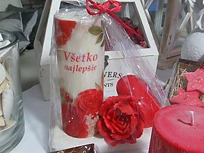 Svietidlá a sviečky - Darčeková sada všetko najlepšie červená. - 11305132_