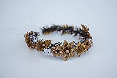 Ozdoby do vlasov - Zlatý ľadový venček - 11305228_