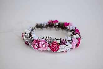 Ozdoby do vlasov - Ružový ľadový venček - 11305234_