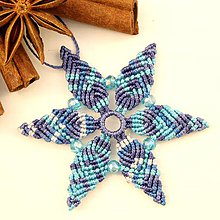 """Dekorácie - Makramé vianočné ozdoby """"Hviezdičky"""" (5,5 x 5 cm - Modrá) - 11303170_"""