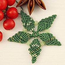 """Dekorácie - Makramé vianočné ozdoby """"Hviezdičky"""" (5 x 5 cm - Zelená) - 11303199_"""
