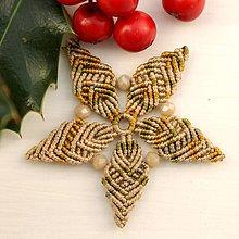 """Dekorácie - Makramé vianočné ozdoby """"Hviezdičky"""" (5 x 5 cm - Meď/Bronz) - 11303200_"""