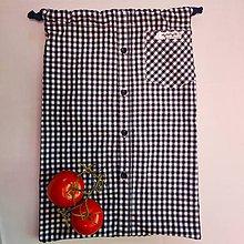 Úžitkový textil - Zero waste Košelák (Modré kárované vrecúško) - 11302795_