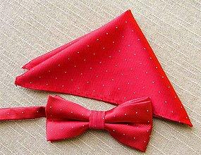 Doplnky - Pánsky motýlik, červený, modrý, čierny , motýlik s vreckovkou (Červená) - 11304591_