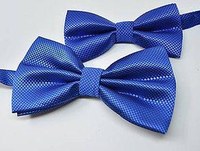 Doplnky - Motýlik, motýliky pre otca a syna, dospelácky a detský set červený, modrý, čierny (modrý s potlačou) - 11305029_