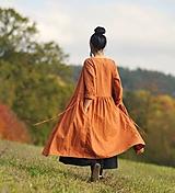Šaty - Lněné zavinovací Zrzavé - 11303617_