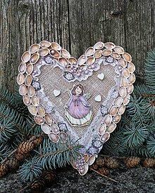 Dekorácie - Závesné srdce s anjelikom - 11307722_