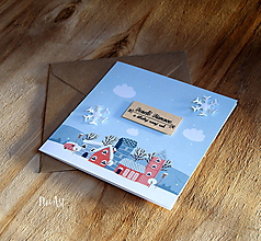 Papiernictvo - Vianočná pohľadnica Domčeky - 11307956_