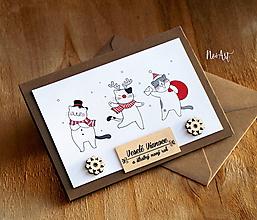 Papiernictvo - Vianočná pohľadnica Vianoční mačiaci - 11309787_