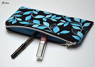 Taštičky - Kapsička/pouzdro - Modré lístky s perletí - 11306362_