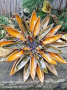 Dekorácie - Kvet oranžovo-zelený zápich - 11308188_