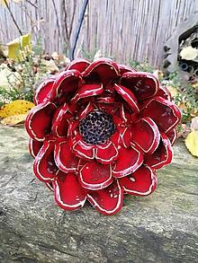 Dekorácie - Kvet červený zápich - 11308252_