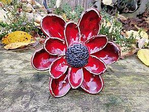 Dekorácie - Kvet červený č.3 zápich - 11308425_