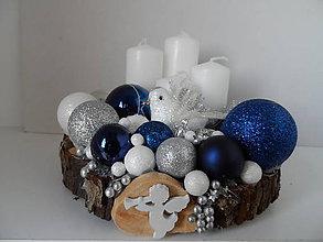 Svietidlá a sviečky - adventný svietnik modrý s holubicou - 11307588_