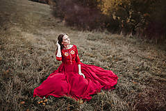 Šaty - Bordové vyšívané šaty - 11308734_