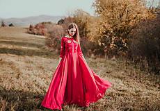 Šaty - Bordové vyšívané šaty - 11308736_