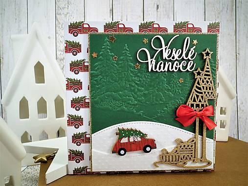 Veselé Vianoce auto pohľadnica