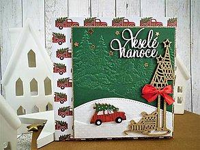Papiernictvo - Veselé Vianoce auto pohľadnica - 11305503_