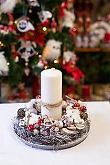 Dekorácie - Vianoce - svietnik - prírodný - 11309112_