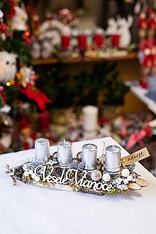 Dekorácie - Vianoce - adventný svietnik - strieborný - 11309259_