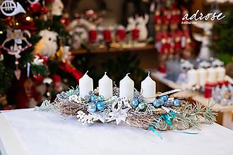 Dekorácie - Vianoce - adventný svietnik - modrý - 11309367_