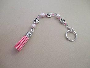 Kľúčenky - Kľúčenka - ružovo/strieborná - 11309106_