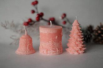 Svietidlá a sviečky - Vianočná SADA sviečok V DARČEKOVOM BALENÍ (Lososová) - 11305739_