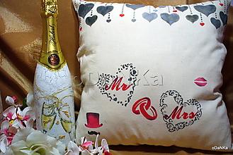 Úžitkový textil - ľanový vankúš Mr. & Mrs. - 11307687_