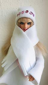 Hračky - Biela čiapka so šálom pre Barbie - 11309410_
