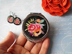 Zrkadielka - Boho flowers IV. (zrkadielko + náušničky) - 11308338_