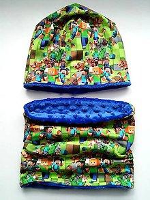 Detské čiapky - Čiapka a nákrčnik Minecraft - 11309358_