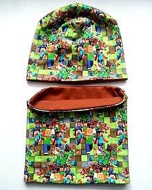 Detské čiapky - Čiapka a nákrčnik Minecraft  (Hnedá) - 11309473_