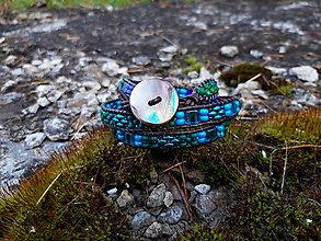 Náramky - Wrap náramok hnedo modro zelený - 11307450_