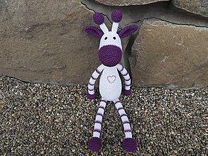 Hračky - Milá háčkovaná žirafka - fialová - veľká - 45cm - 11309221_