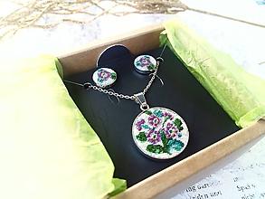 Sady šperkov - Strieborna sada šperkov (Ag 925) s ručne vyšívanými kvetmi - 11308947_