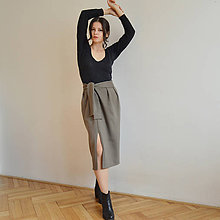 Sukne - Vojensky zelená sukňa - 11309278_