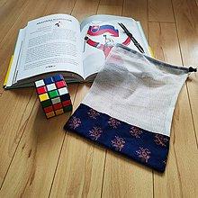 Úžitkový textil - Zero waste Aj aj vrecúško  (Oranžové kvietky) - 11305644_