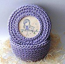 Detské doplnky - Handmade háčkovaný košík z kvalitných šnúr s vrchnákom s maľovaným motívom (detským/dievčenským) - 11308004_