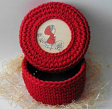 Detské doplnky - Handmade háčkovaný košík z kvalitných šnúr s vrchnákom s maľovaným motívom (detským/dievčenským) - 11308048_
