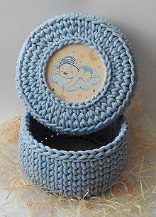 Detské doplnky - Handmade háčkovaný košík z kvalitných šnúr s vrchnákom s maľovaným motívom (detským/dievčenským/chlapčenským)) - 11308075_