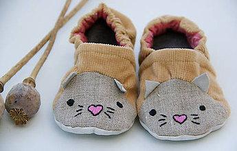 Topánočky - Detské papučky/capačky - Mačička - 11305343_