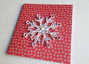 Papiernictvo - Vianočná vločka - červená - 11307484_